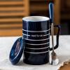Фарфор Soul керамическая кружка с крышкой ремня ложка кофейная чашка большая емкость минималистский творческие личности пару чашек кружка жизнь синий полосатый линии B современный минималистский личности быков