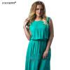 COCOEPPS женщин большой размер длинное платье 2017 плюс размер дамы O шеи без рукавов танк Summer Maxi платья