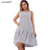 Cocoepps Новый каскадных рюшами женское платье большой Размеры Цветочный принт Femme Спагетти ремень платья платья watch me moscow платье с рюшами