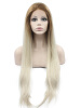 Long Straight Heat Safe Fiber Ombre Blonde Black Two Tone Lace Front Wig 24 long straight 2 tone blonde with brown lace front wig heat resistant 20015