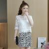 KuoyiHouse 5776 2017 лето новый корейский юбка темперамент женщин три части костюм юбка женская мода кружева рубашка + печать юбка изображение цвет L