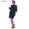 Cocoepps 2017 элегантные женские платья большие размеры Повседневная Свободная Половина рукава платье