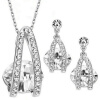 Yoursfs@ Twisted Necklace and Dangle Stud Earrings Jewelry Set for Mother's Day with Solitaire Austria Crystal Gift (18k White Gol