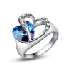Yoursfs@ 18K  Gold Plated Hold Your Heart Hollow Out Designed Sapphire Blue Crystal Rings Women yoursfs 18k rose white gold plated letter best mum heart necklace chain best mother s day gift