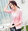 Women Linen Half Sleeve Blaser 2017 New Elegant Casual Candy Color Single Button Plus Size Work Blazer Office Jacket Pink/White