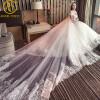 Великолепные свадебные платья 2017 Vestido De Noiva Sereia Sheer Back Neck Ruffles Съемный длинный хвост свадебного платья прополка свадебные платья