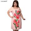 COCOEPPS Элегантные цветочные принты Платья Большие размеры Женщины Летнее платье 2017 Новый Модный Плюс Размер