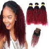 Горячий продавать вино красный # 1B 99J Kinky Curly Hair Bundles с кружевным закрытием Burgundy Ombre Kinky Curly Hair With Closure 4Pcs Lot new arrival kinky curly hair with closure synthetic lace front wig 1b color black for sexy women
