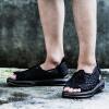(SAMA)Лидирующий мужские кожаные плетеные сандалии летом на открытом воздухе нескользящей толстым дном полый моды пляж сандалии