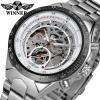 WINNER Новые спортивные серебряные часы Мужские механические часы Роскошные часы для мужчин Часы с автоматическим скелетом