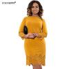 Cocoepps женщины большой размер dress 2017 плюс размер дамы three четверти летние короткие платья с застежкой-молнией vestidos