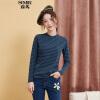 Semir (Semir) полоса свитер женский +2017 падения значительно долговязый воротник пассив ж свитер 12316010026 синих красный тона S