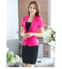 Summer Elegant Business Formal Office Blaser Women Short-Sleeve Blazer Crystal Button Ladies Jackets Sky Blue Black Rose Navy Bl blue sky чаша северный олень