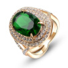 Yoursfs@ Wholesale Imitation Emerald Promise Rings for Women Rose Gold Plated Vintage Semi-precious Green Stone Ring Anel