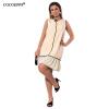 Cocoepps модные Большие размеры женские Лоскутные платья Элегантный шифон мини-платье ниспадающей оборкой красный