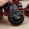 Chinese Traditional Wood Products Ebony Wood Good Luck Peace Winding Maitreya Car Key Ring Pendant Keychain wood in traditional architecture