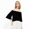 UR бурной молодости женской моды воротник свободно, случайные футболки YU10S4HN2001 глубокий черный L