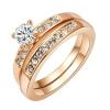 Yoursfs® 18K Rose Gold Plated Double Rounds Simulated Diamond Rings Используйте австрийские ювелирные изделия из кристалла