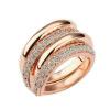 Yoursfs @ Anillos Mujer Двойное кольцо для женщин Кольцо из горного хрусталя с золотым покрытием Полное кристаллическое кольцо из горного хрусталя