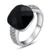 Yoursfs@  Black Statement Rings 18K Gold Plated Jewelry Engagement Big Anniversary Use Cocktail CZ Crystal Wedding Rings for Women 50 50cm black matte pvc background for jewelry rings photo backdrop for jewelry mini items