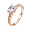 Yoursfs@  Classic 6mm Prong Setting Wedding Rings For Women Rose/White Gold Plate Simulated DZ Diamond-Jewelry Online Shopping Ind