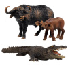 SURPRESA V, Animal Set Toy Gift for Kids, African bull, calf, Crocodile, 3pieces of one set figures animal model simulation toys wild reptile lizard crocodile guiyi 8pcs set