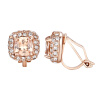 Yoursfs@ Trendy Square Shape Clip Earrings For Women/Girl Rose Gold Color Austrian Crystal Jewelry Earring Anniversary Ear Cuff women s fashionable star style rhinestone inlaid clip on earring ear clip silver gold