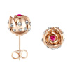Yoursfs@ Charms Rhinestone Rose Stud Earrings 18k Gold Plated Fashion CZ Jewelry Delicate Crystal Rose Women Stud Earrings for Wom silver plated rhinestone geometric stud earrings set