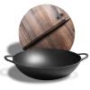 [Супермаркет] литой Jingdong вкус 36см вок вок вок уши плоские с общим деревянной плитой крышки секции какую лучше сковороду вок