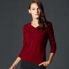 Руи Бика (Marc Rebecca) женские модели простой дикий свитер пуловер V-образным вырезом кашемировый свитер женский горный бордовый L