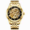 роскошь автоматическое механические наручные часы золотой дракон нержавеющая сталь ремешок мужские часы водонепроницаемые