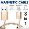 Keymao Magnetic Phone Kabel Data Type-C Micro USB Lighting Charger Cable 3-in-1 for iPhone iPad Samsung 50piece 1 5m 4 9ft golden type c data cord braided usb type c extra long charger cable for oneplus 2 two google nexus 6p 5x