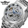 WINNER Новые Мужские Спортивные Серебряные Часы Мужские Механические Часы Роскошные Мужские Автоматические Скелетные Часы