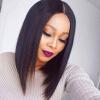 JUNSI Short Bob Black Wig Women Природные синтетические парики для черных женщин, устойчивых к воздействию тепла Синтетические волосы для волос Боба ботинки синтетические