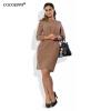 COCOEPPS полька-точка женщин плюс размер платья 2017 случайные осенние 5XL 6XL платья женщин свободное платье Офисное мини-платье платья consowear платье