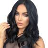 16 дюймов женщин короткий вьющийся синтетический парик с черными жаростойкими волосами