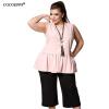 COCOEPPS шифон женщин Ruffles 2017 Plus размер без рукавов повседневный большой размер женской одежды большой размер блузка 6xl