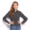 Women Spring Longsleeve Blouse Spring new temperament wave point Slim OL shirt was thin lapel long-sleeved chiffon blouse L17 cuddl duds new charcoal longsleeve pajama top m $22 dbfl