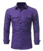 Brand 2017 Fashion Male Shirt Long-Sleeves Tops Classic Double Pocket Mens Dress Shirts Slim Men Shirt XXL ASDD