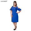 COCOEPPS Fashion Новые сплошные женские платья 2017 Sexy Plus Размер с плечом Женское платье Большой размер Ruffles Sleeve Blue