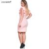 COCOEPPS 2017 Plus размер женщин летние платья Сексуальная V-образным вырезом оболочка Твердые мини платье Ruffles рукавом платье платье fiona ferrari платья и сарафаны мини короткие