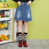 Semir (Semir) юбка женская 2017 новая обвала джинсовой А-линия юбка была тонкой нерегулярной юбка колледж Ветер юбка dewberry юбка