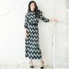 Джи Вэй Я. осенью новый ретро высокой талии юбка с высоким воротником с длинными рукавами -линии половинной Тонкий плед платье 2017 года женщины