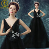 Sexy Evening Dresses Long Vintage Black Elegant Sleeveless Lace Satin Party Gown Prom Dress Women Backless Robe Evening Gowns