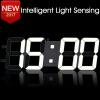 3D DIY Wall Clock Large Table Clock LED Digital Automatic Sensor Light Jumbo Wall Clock Huge Screen Display White diy wall clock
