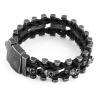 Череп натуральная кожа мужской браслет из нержавеющей стали Wrap браслет для мужчин Классический браслет мужские браслеты для мужч