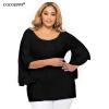 COCOEPPS Off Shoulder Plus Размер женской майки NEW 2017 черный Серый Женский топ-Хлопок Повседневный Большой размер tops