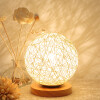 BOKT Minimalist Novelty Romantic Solid Wood Table Lamp for Bedroom Bedside Desk Lamp Home Decor Rattan Ball Lampshade (Beige) japanese indoor restaurant lighting ceiling lights fixtures washitsu tatami decor shoji lamp wood paper restaurant lamp