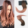 14-24 7Pcs 100gram Color #3 Dark Browm Fading to Color Rose Gold Brazilian Remy Hair Extensions Full Set Cilp On Hair Extensions