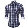 Brand 2017 Fashion Male Shirt Long-Sleeves Tops Spring Fashion Color Plaid Mens Dress Shirts Slim Men Shirt